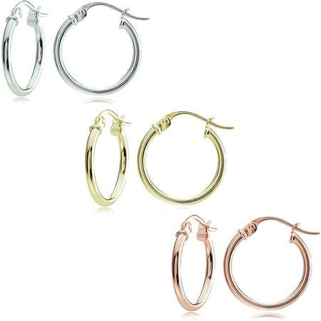 Ss Hoop Earring Set (14kt Gold over Sterling Silver 15mm Tricolor Polished Hoop Earring Set)