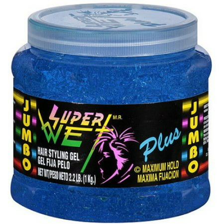 Super Wet Plus Maximum Hold Hair Styling Gel, Blue 35.30 oz (Pack of 4)