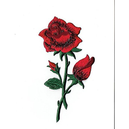 Red Rose - Open - Petals on Stem - Iron on Applique/Embroidered - Felt Petals