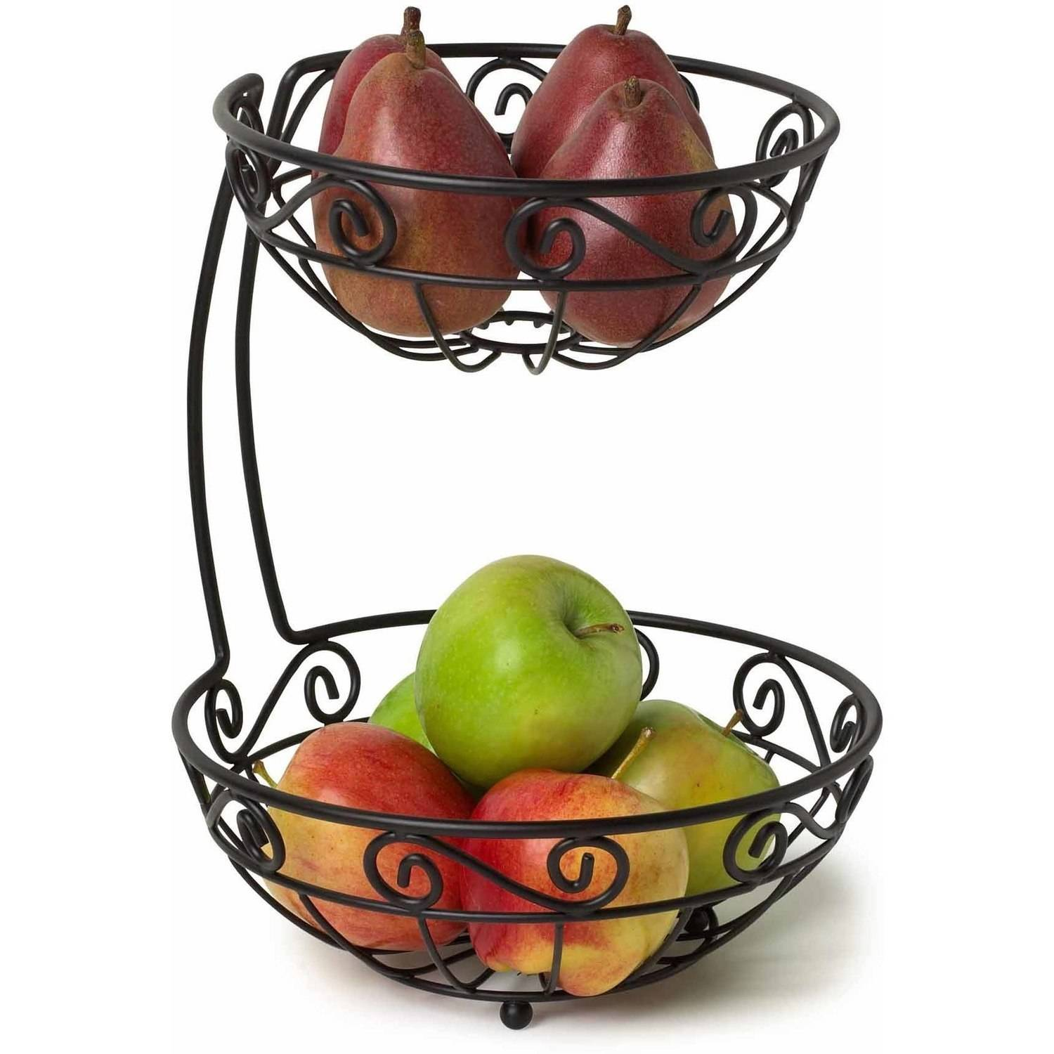 Spectrum Scroll Arched 2-Tier Fruit Server, Black