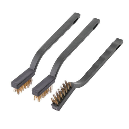 Household Plastic Handle Metal Wire Bristle Cleaning Brush Tool Black 3 Pcs
