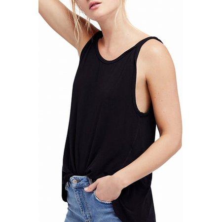 FREE PEOPLE Womens Black Sleeveless Jewel Neck Top  Size: S