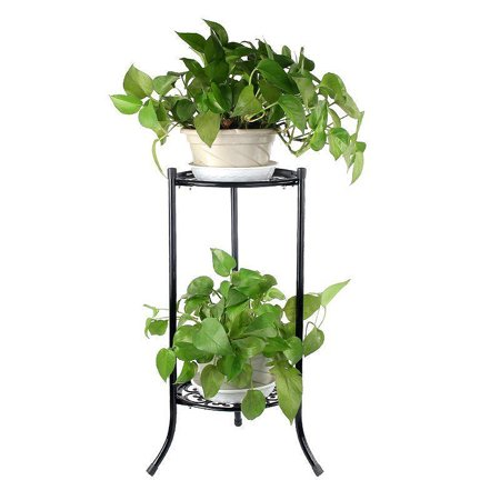 Elegant Metal Flower Stand Shelf Plant Pot Rack Holder Indoor Outdoor Black White 2-Tier ()