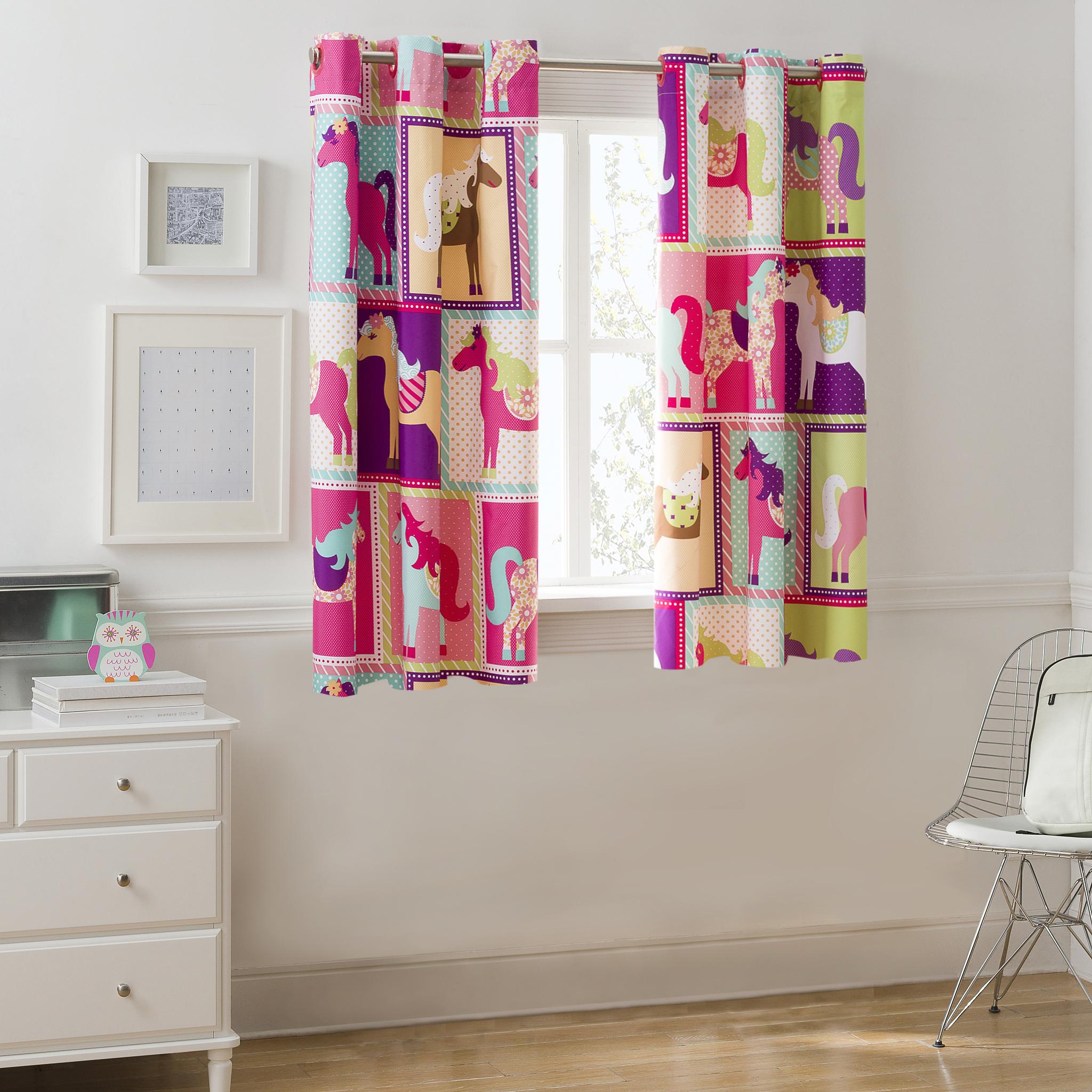 Mainstays Pink Horsey Room Darkening Girls Bedroom Curtain Panel