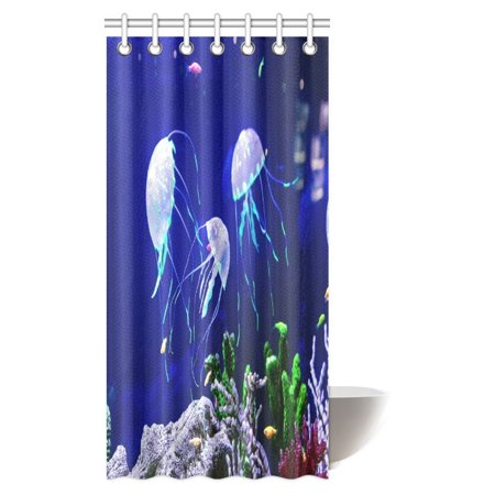 MYPOP Jellyfish Shower Curtain Beautiful Ocean Wildlife Medusa In The Neon Light With