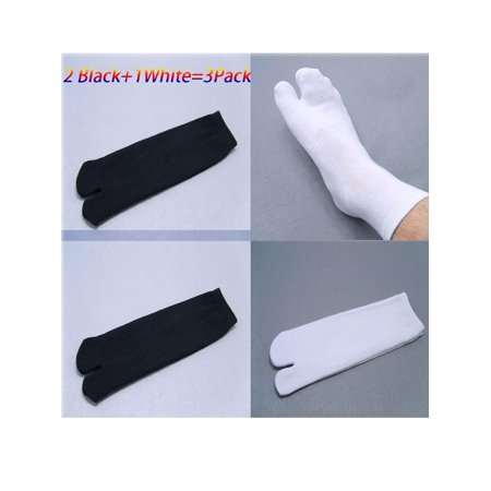 Split Toe Socks - NK FASHION Men's Flip Flop Socks 2 Toe Tabi Japanese Split Toe Geta Wicking Socks Casual Black White Gray Ankle Socks 3-Pack