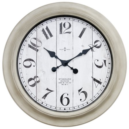 Better Home & Gardens Oversized Wall Clock, 28 Inch Whitewashed Modern Farmhouse ()