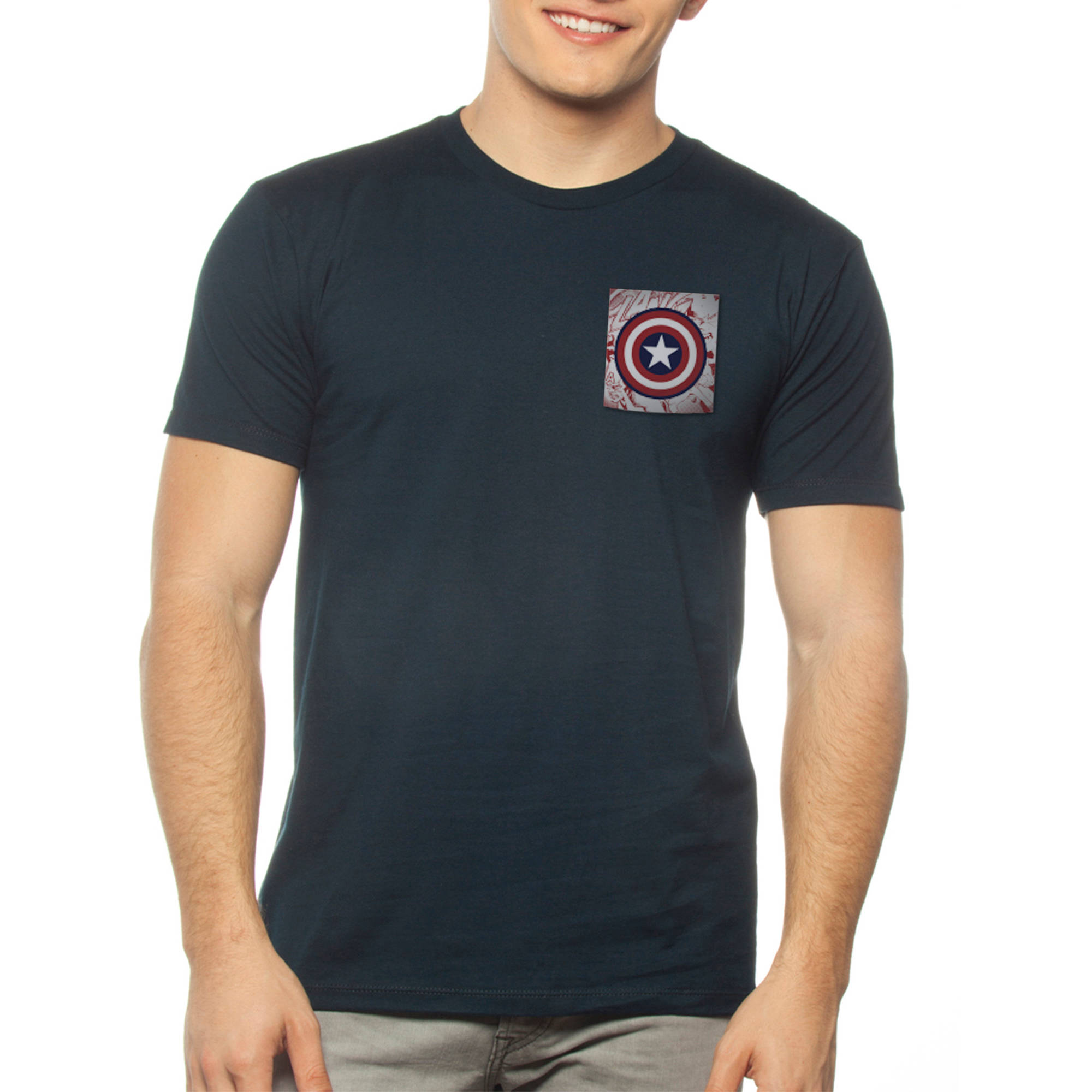 Captain Amercia Mens Pocket tee