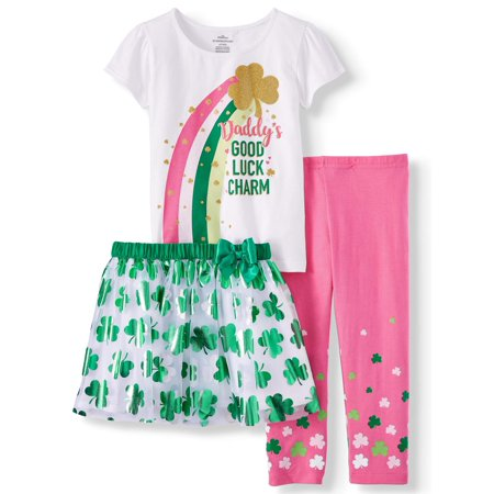 St. Patrick's Day Short Sleeve T-Shirt, Leggings & Tutu, 3pc Outfit Set (Toddler Girls) - Cute Girl St Patricks Day Outfits