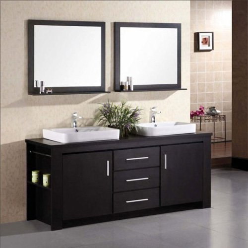 Design Element DEC083D Washington 71-in. Double Bathroom Vanity Set