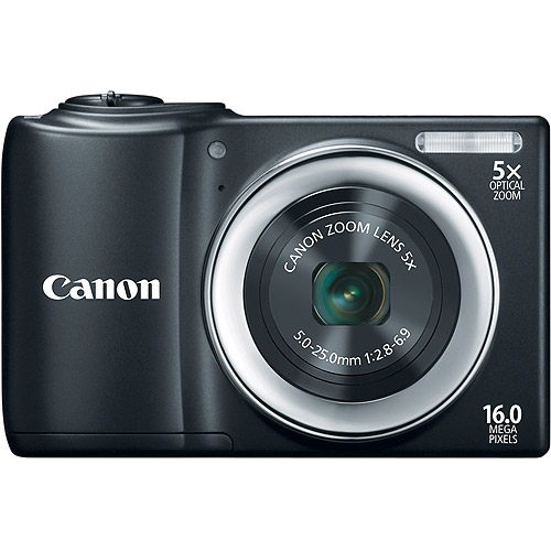 "Canon PowerShot A810 Black 16MP Digital Camera w/ 5x Optical Zoom Lens, 2.7"" LCD Display, HD Video, Digital Image Stabilization"