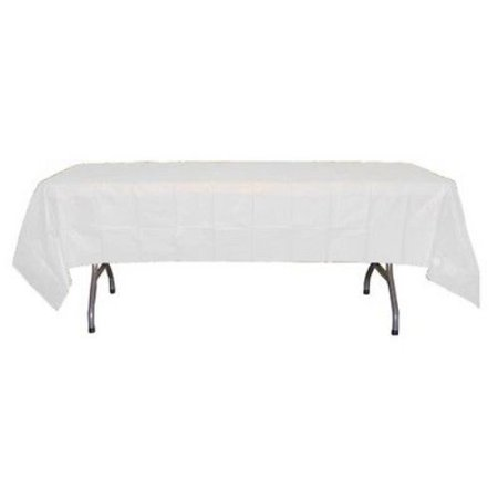 Premium 12 Pack White Plastic Tablecloth, 108 x 54 Inch - Plastic Tablecloths Cheap
