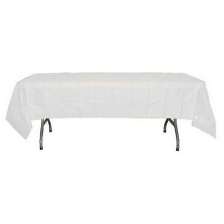 Exquisite 12 Pack Premium White Plastic Tablecloth, 108 x 54 Inch (Blue Gingham Tablecloth Plastic)