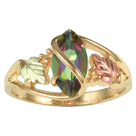 Black Hills Gold Ruby Ring (10 X 5 mm Mystic Fire Topaz Ring in 10k)