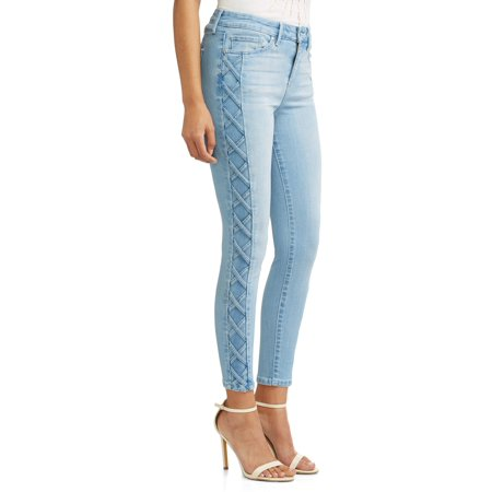 Sofía Skinny Lace-Up Sides Mid Rise Ankle Jean Women