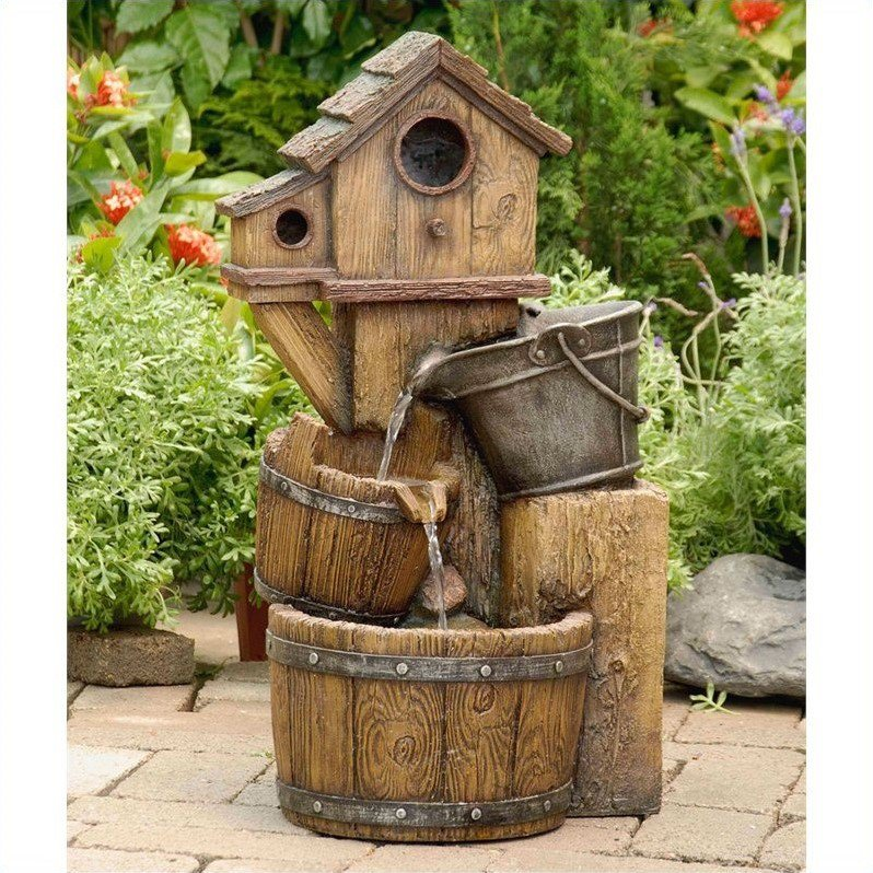 Jeco Birdhouse Outdoor Water Fountain without Light by Jeco Inc.