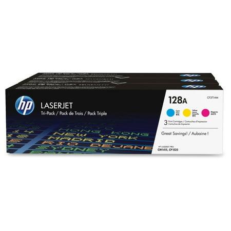 HP 128A Tri-pack - 3-pack - yellow cyan magenta - original - LaserJet - toner cartridge (CF371AM)