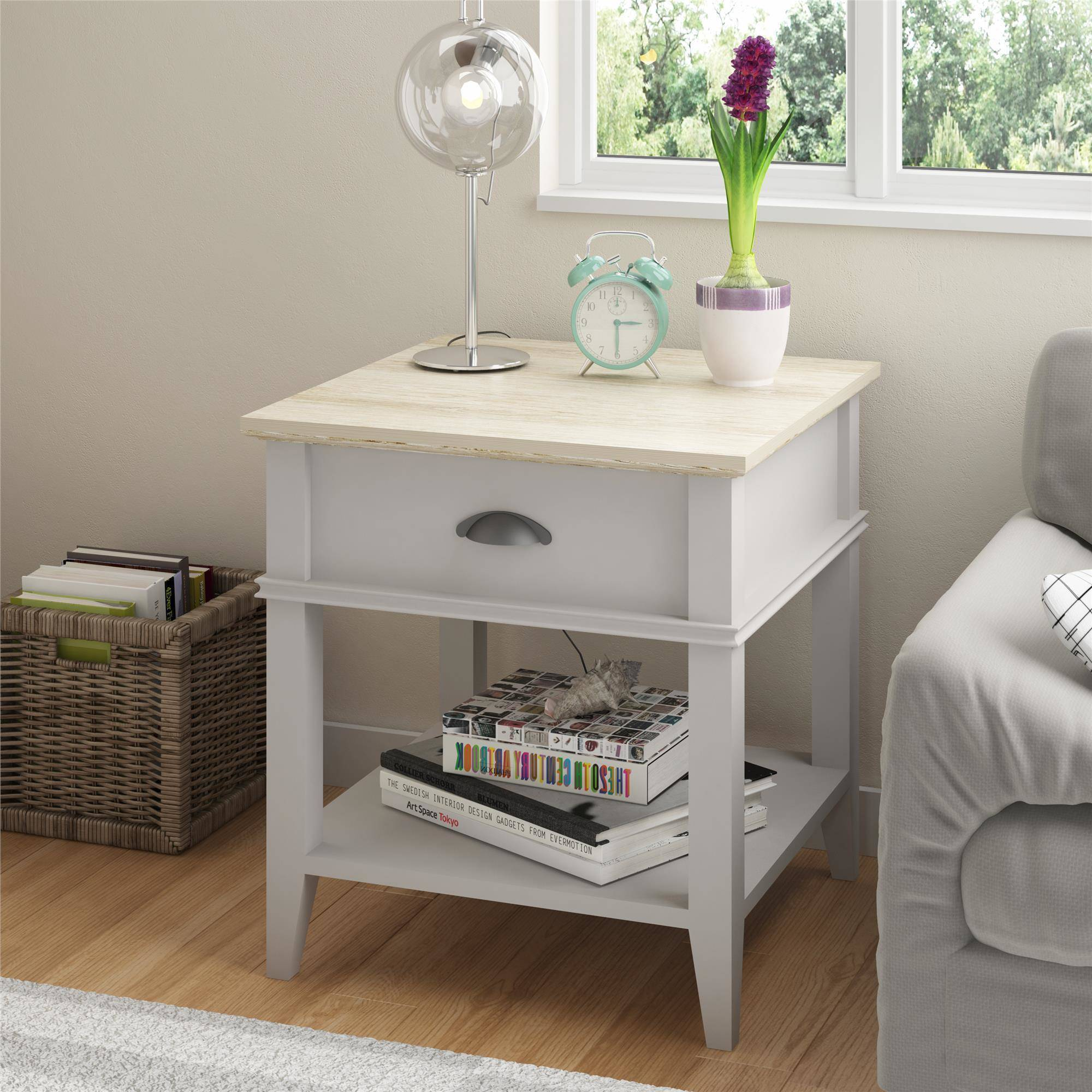 Ameriwood Home Newport Accent Table With Drawer, Light Gray/Brown    Walmart.com