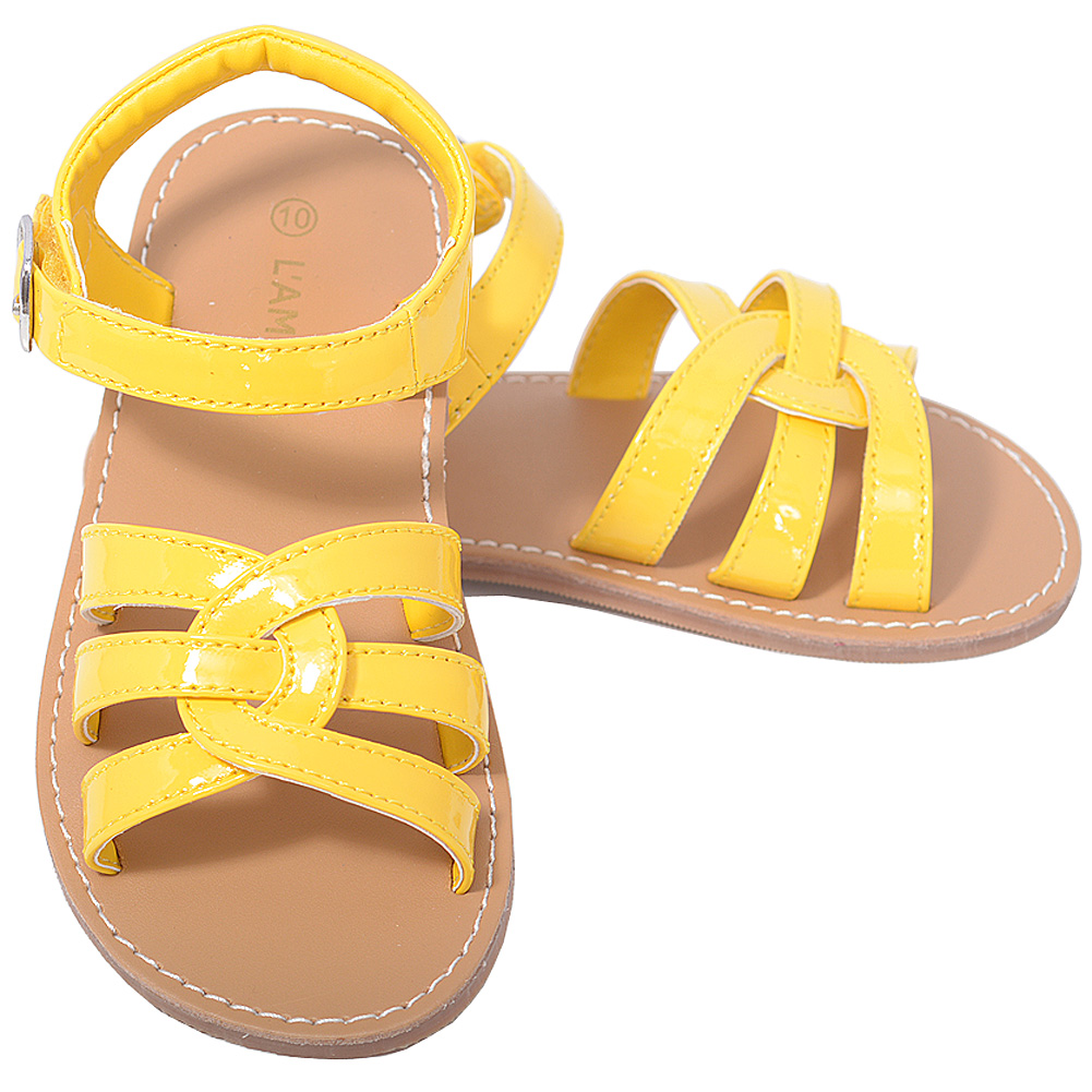 L'Amour Patent Yellow Woven Strap Summer Sandals Toddler Girls 5-10