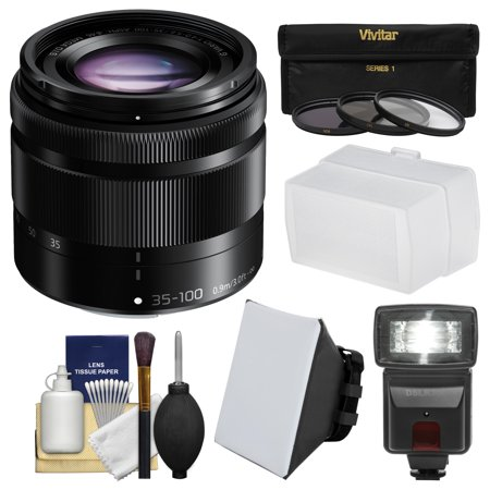 Panasonic Lumix G Vario 35-100mm f/4.0-5.6 OIS Zoom Lens + Flash & Soft Box + Diffuser + 3 Filters Kit for G6, GF6, GF7, GH3, GH4, GM1, GM5, GX7
