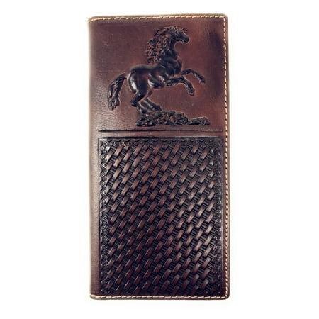 Western Mens Embossed Basketweave Cowboy Coffee Long Wallet in Multi - Dallas Cowboys Wallet