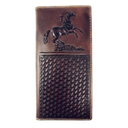 Western Mens Embossed Basketweave Cowboy Coffee Long Wallet in Multi -