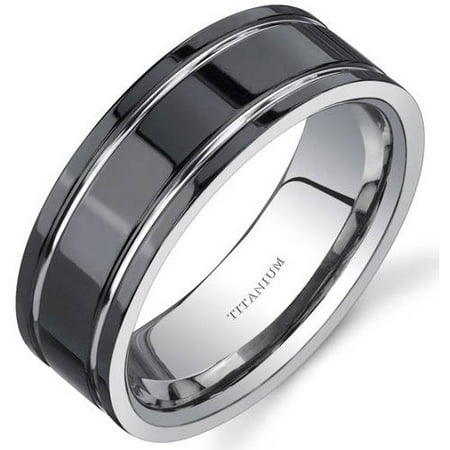 Men's Black Comfort Fit Titanium Wedding Band Ring, -