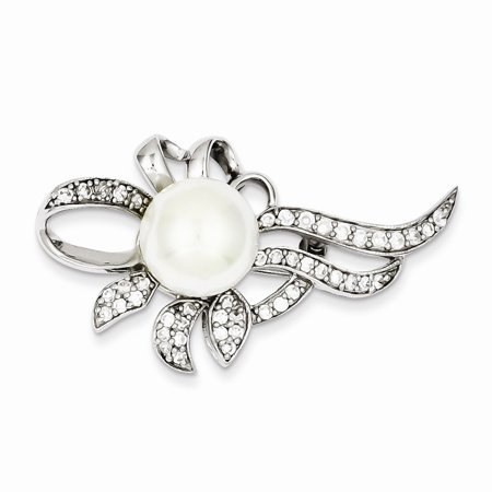- Sterling Silver Imitation Freshwater Cultured Pearl CZ Pin