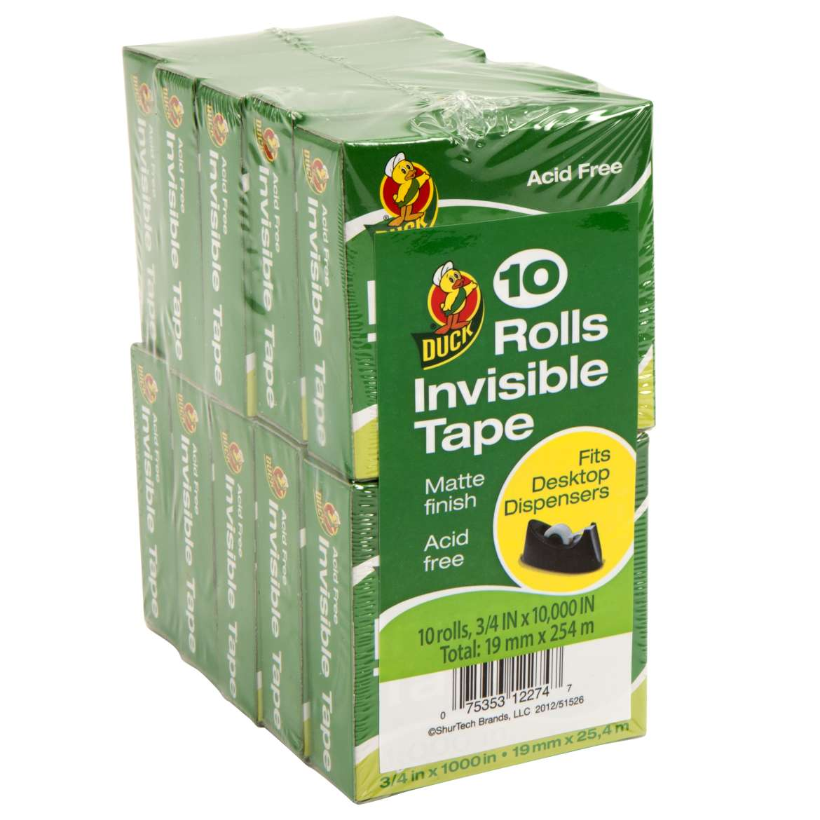 "Duck Brand 3/4"" x 1000"" Invisible Tape Rolls, 10 Pack"