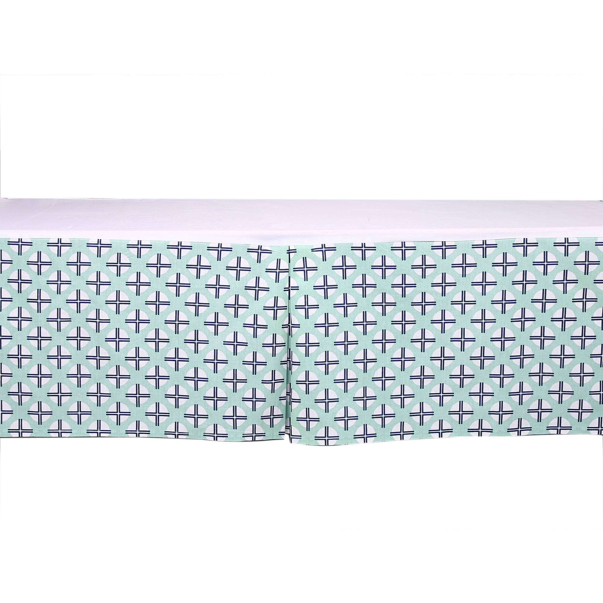 Bacati - Noah Tribal Dots/Cross Mint/Navy Tailored with 100% Cotton Percale 13 inch drop Crib/Toddler Bed Skirt