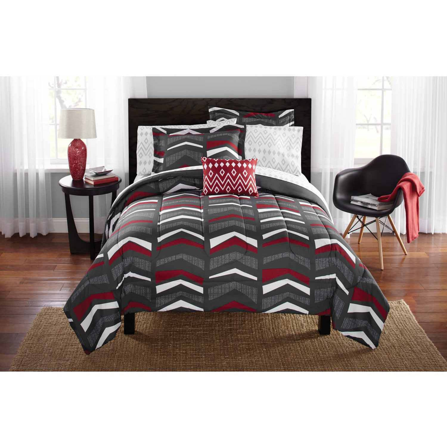 Mainstays Tribal Chevron Bed in a Bag Bedding Set Walmart