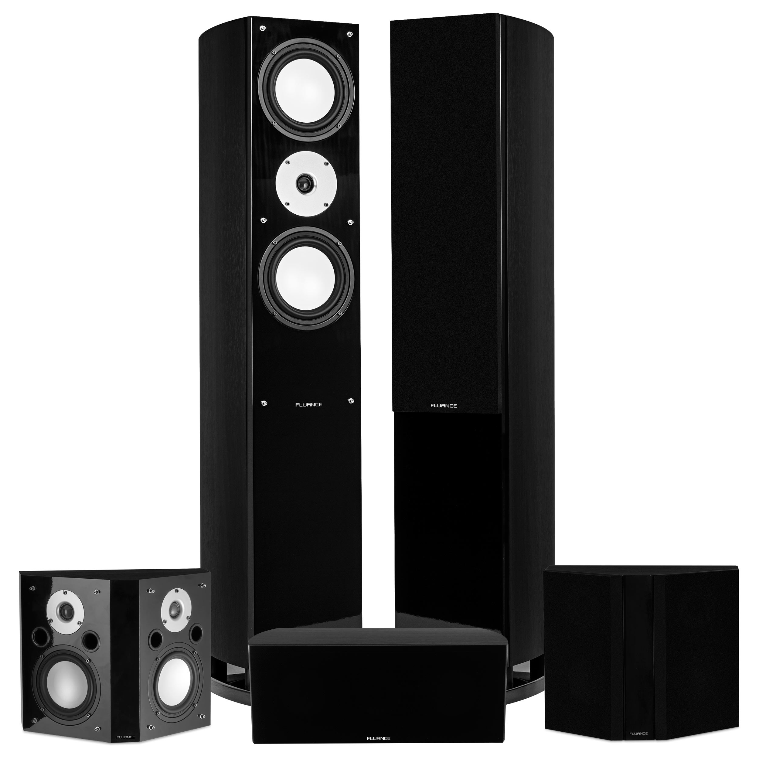 Fluance Reference Series Surround Sound Home Theater 5.0 Channel Speaker System including Three-way Floorstanding Towers, Center Channel, and Bipolar Speakers - Black Ash (XL50BB)