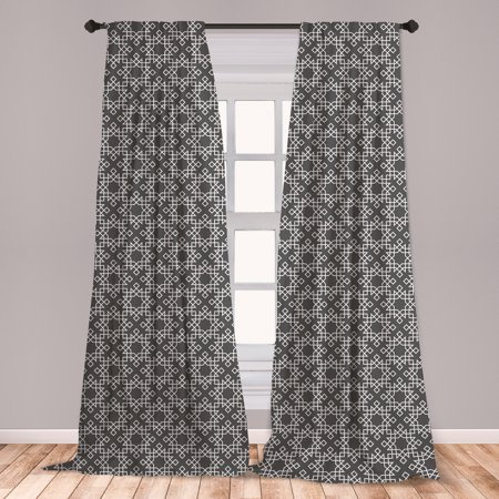 Grey and White Curtains 2 Panels Set, Moroccan Star Pattern Traditional Tile Symmetrical Motifs, Window Drapes for Living Room Bedroom, Charcoal Grey White, by Ambesonne ()