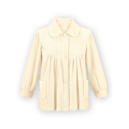 Therma Fit Fleece Top - Women's Soft Fleece Button Down Night Shirt with Pockets - Comfy Flattering Fit Over Pajamas or Nightgown, Xx-Large, Ivory