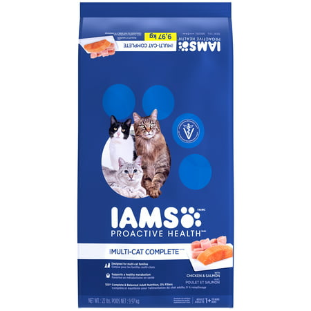 Iams proactive health multi-cat complete with salmon and chicken dry cat  food, 22