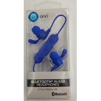 ONN Bluetooth In-Ear Headphones with Micro-USB Charging Cable, Blue