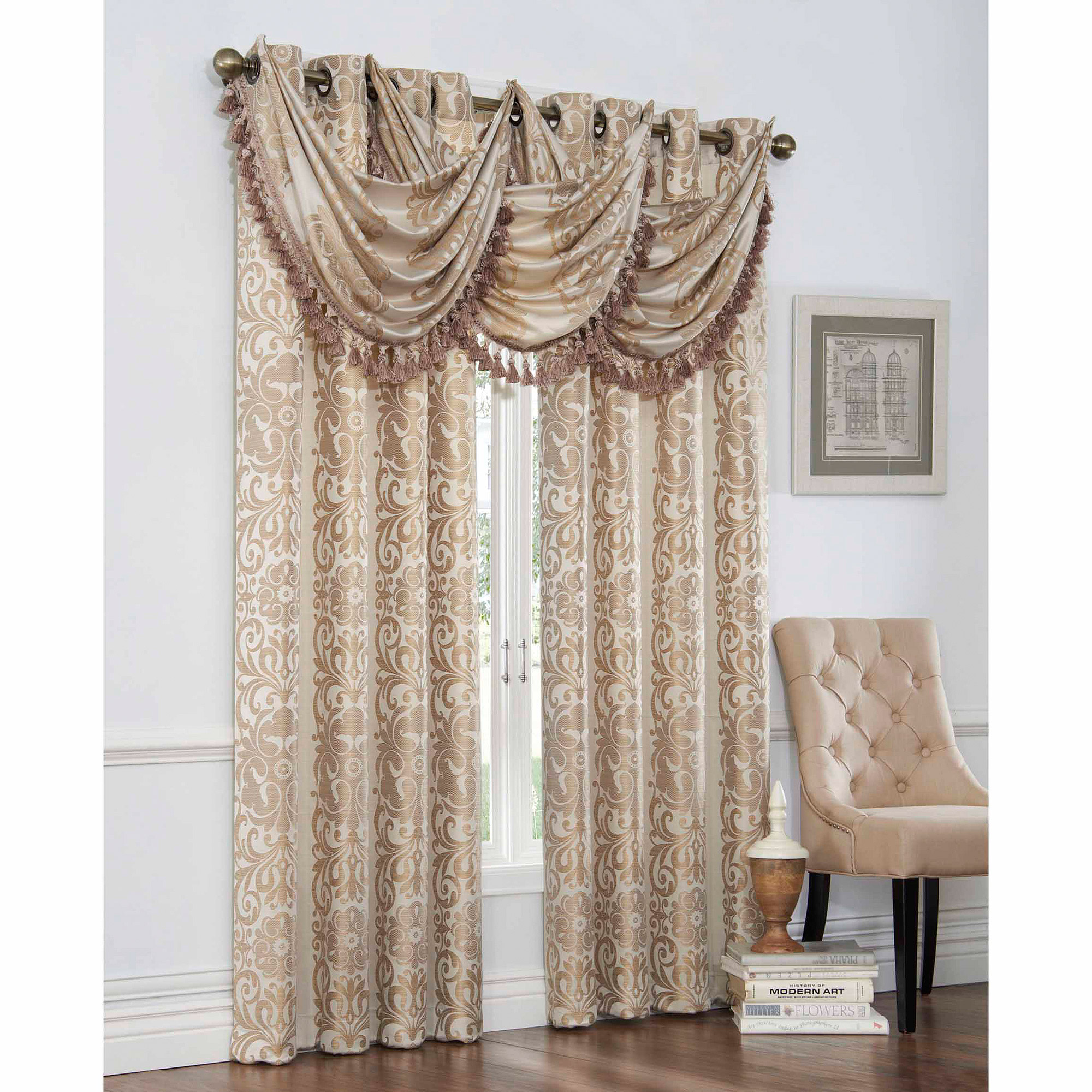 Walmart Curtains For Living Room Mainstays Microfiber Curtain Panel With Tieback Walmartcom