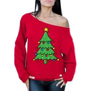 awkward styles christmas tree sweatshirt off shoulder top christmas sweater for women xmas tree holiday sweatshirt - Buddy The Elf Christmas Sweater