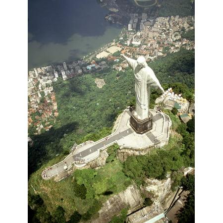 Aerial of Corcovado Christ Statue and Rio de Janeiro, Brazil Print Wall Art By Bill Bachmann
