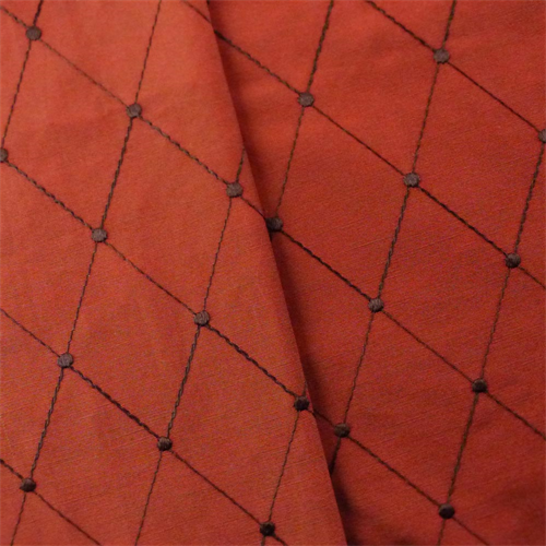 Red/Brown Diamond Embroidered Taffeta Drapery Fabric, Fabric By the Yard