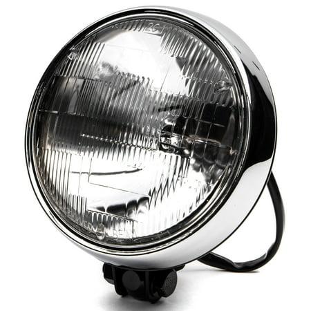 "Krator 6"" Black w/ Chrome Ring Motorcycle Headlight Bottom Mount Running Light Hi/Lo for Yamaha TX SR CS YX RD 350 400 500 600 650 750 - image 8 of 8"