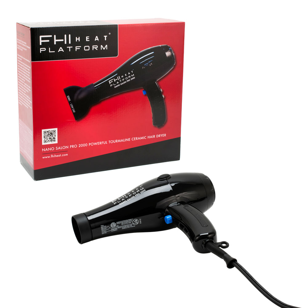 FHI Heat Platform Nano Salon Pro 2000 Tourmaline Ceramic Dryer 1800W, BLACK, DRY7006