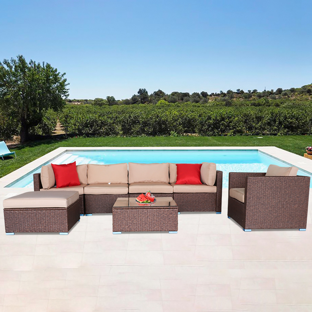 Outsunny 7 PCS Dining Set with 6 PE Rattan Cushioned Chairs /& 1 Rectangle Table Patio Porch Modern Outdoor Patio Furniture for Poolside Indoor Balcony