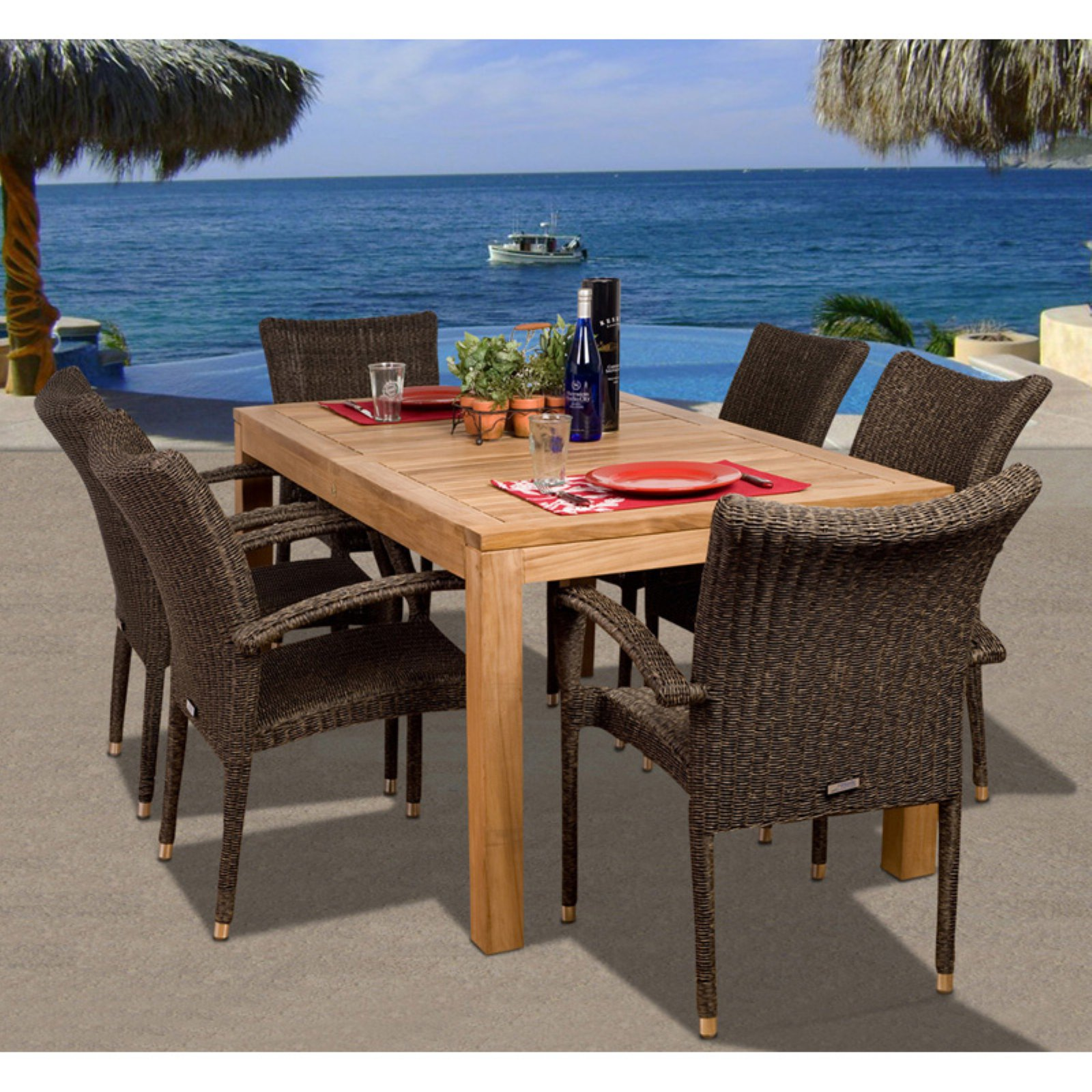 Amazonia Brussels Teak Dining Set - Seats 6