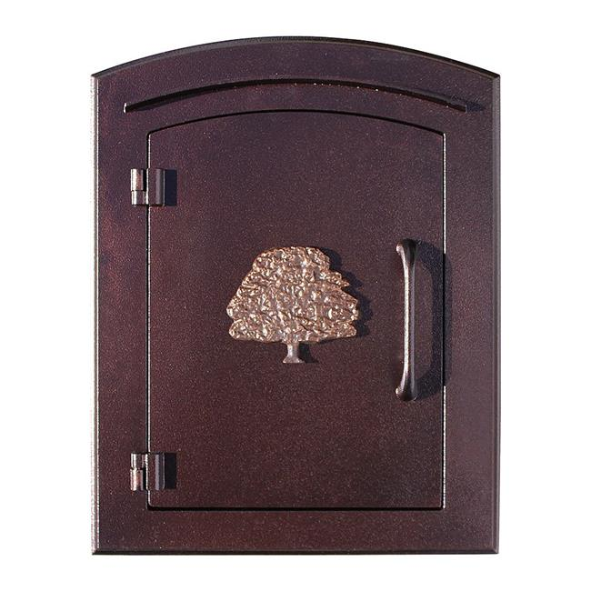 QualArc MAN-1404-AC 14 in. Manchester Non-Locking Column Mount Mailbox with Decorative Oak Tree Logo in Antique Copper
