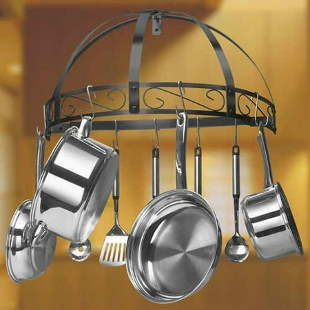 Wrought Iron Wall Hanging - Wall Mounted Hanging Kitchen Pan Pot Rack Organizer Wrought Iron Black 12 Pans