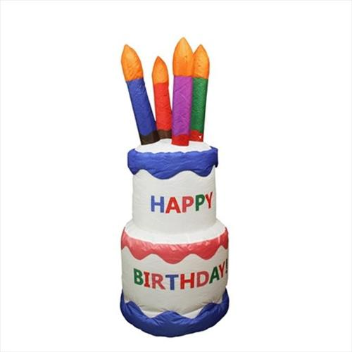 NorthLight 4 ft.  Inflatable Happy Birthday Cake Lighted Yard Art Decoration