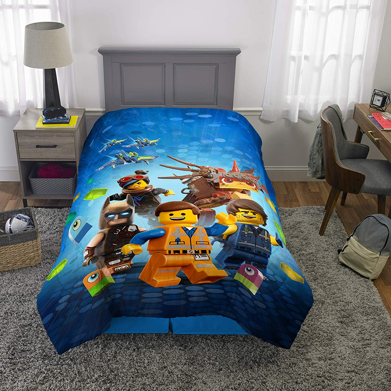 "LEGO Movie 2 Kids Bedding Soft Microfiber Reversible Comforter Twin/Full Size 72"" x 86"" Blue"