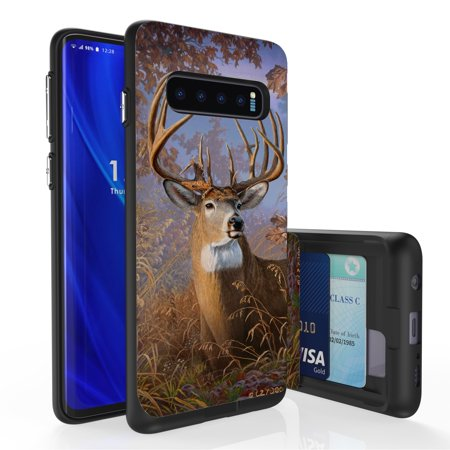 Galaxy S10 Case, PimpCase Slim Wallet Case + Dual Layer Card Holder For Samsung Galaxy S10 [NOT S10e OR S10+] (Released 2019) Big Buck Outdoors