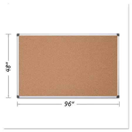 MasterVision Value Cork Bulletin Board with Aluminum Frame, 48 x 96, - Color Cork Board
